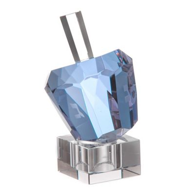 Diamond Solitaire Shaped Lavender Crystal Hanukkah Dreidel