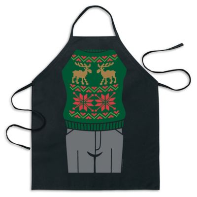 ICUP Green Reindeer Ugly Christmas Sweater Apron in Black