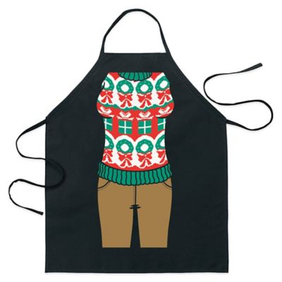 ICUP Presents and Holiday Wreath Ugly Christmas Sweater Apron in Black