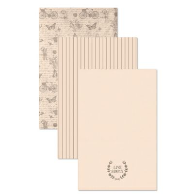 "Heritage Lace® Nature's Script ""Live Simply"" Tea Towels in Cream (Set of 3)"