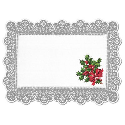 Heritage Lace® Boughs of Holly Placemat in White