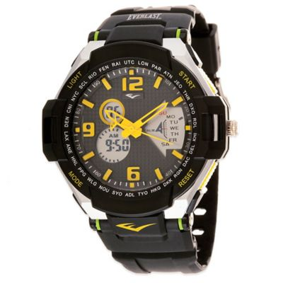 Everlast® Multi-Function Sport Watch 48mm Grey Dial Watch in Black/Yellow with Plastic Strap