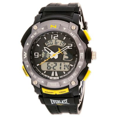 Everlast® Multi-Function Sport Watch 46mm Grey Dial Watch in Black with Plastic Strap
