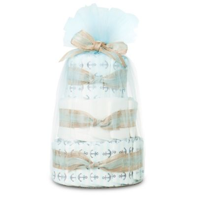 Honest® Mini Diaper Cake in Anchors and Stripes