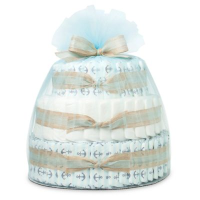 Honest® Large Diaper Cake in Anchors and Stripes