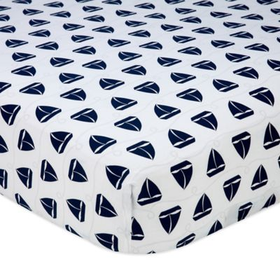 Nautica Kids® Mix & Match Sailboat Print Fitted Crib Sheet