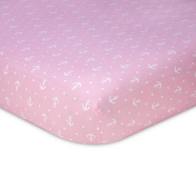 Nautica Kids® Mix & Match Anchor Print Fitted Crib Sheet in Pink/White