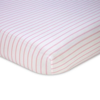 Nautica Kids® Mix & Match Striped Fitted Crib Sheet in Pink/White