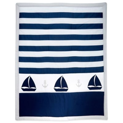 Nautica Kids® Mix & Match Striped Sailboat Comforter in Navy/Grey