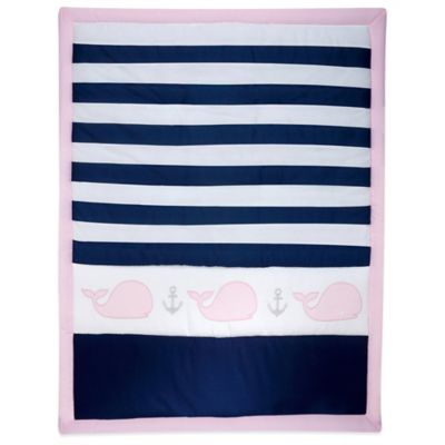 Navy/Pink Baby Bedding