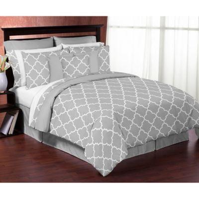 Sweet Jojo Designs Trellis Twin 4-Piece Comforter Set in Grey/White
