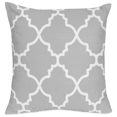 Trellis Throw Pillow in Grey/White