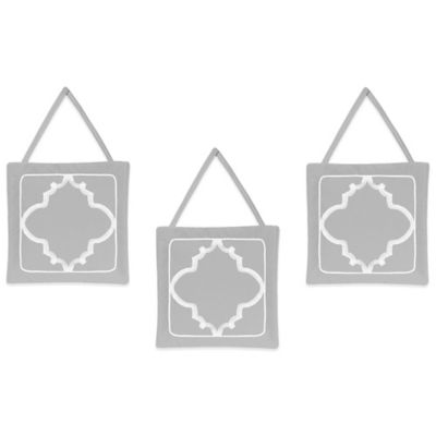 Sweet Jojo Designs Trellis 3-Piece Wall Hanging Set in Grey and White