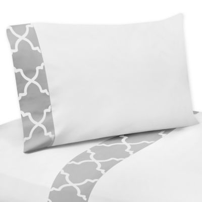 Sweet Jojo Designs Trellis Twin Sheet Set in Grey/White