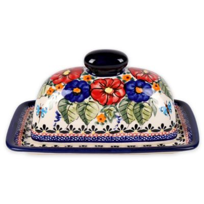 Pottery Avenue Butterfly Merry Making Covered Butter Dish