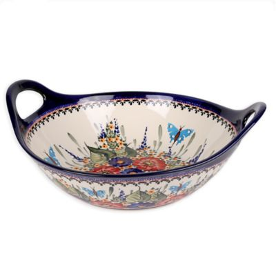 Pottery Avenue Butterfly Merry Making Handled Bowl/Baker