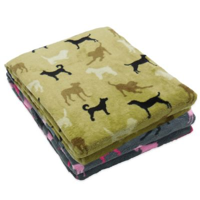 Dog Silhouette Plush Pet Blanket in Navy