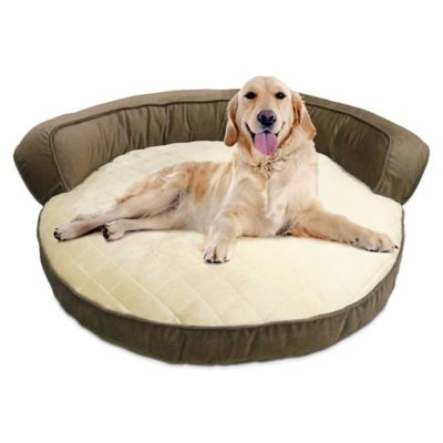 Super Soft Micro Fiber Round Bolster Bed in Mushroom