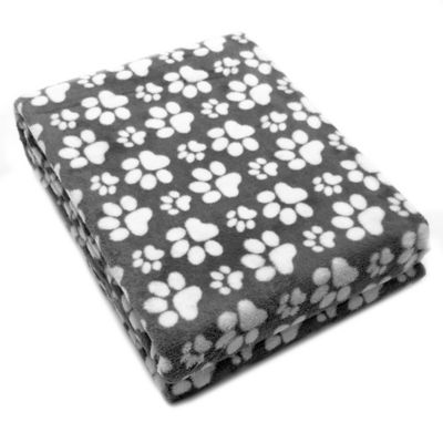 Paw Print Plush Pet Blanket in Charcoal