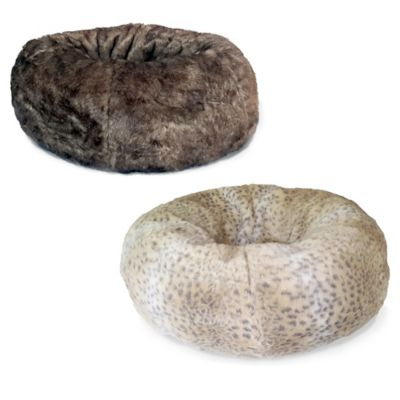 Bombay™ Faux Fur Donut Napper Bed for Pets in Brown