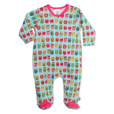 Zutano® Size 3M Owls Footie in Aqua