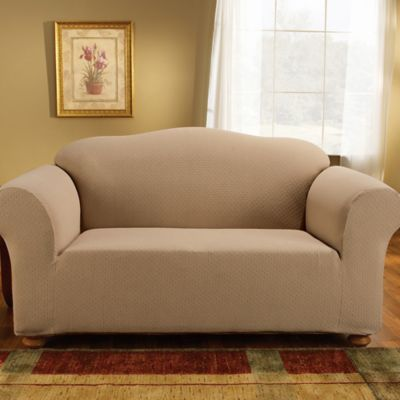 Sure Fit® Simple Stretch Subway Tile 1-Piece Loveseat Slipcover in Taupe