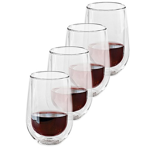 Buy wine enthusiast steady temp double wall stemless chardonnay glasses set of 4 from bed - Insulated stemless wine glasses ...