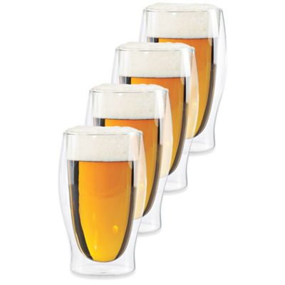Wine Enthusiast® Steady-Temp Double Wall Beer Glasses (Set of 4)