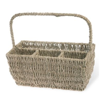 Boston International Seagrass Flatware Basket Caddy with Handle in Brown
