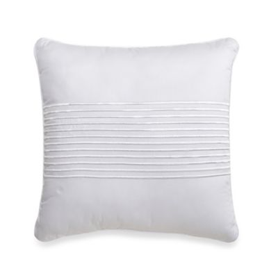 500-Thread-Count Damask Stripe Square Throw Pillow in White
