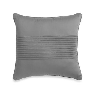 500-Thread-Count Damask Stripe Square Throw Pillow in Navy