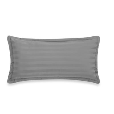 500-Thread-Count Damask Stripe Oblong Throw Pillow in Navy
