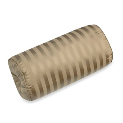 500-Thread-Count Damask Stripe Bolster Throw Pillow in Taupe