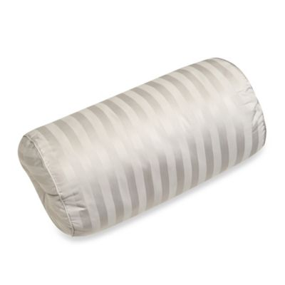 500-Thread-Count Damask Stripe Bolster Throw Pillow in Silver