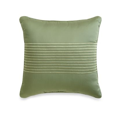 500-Thread-Count Damask Stripe Square Throw Pillow in Sage