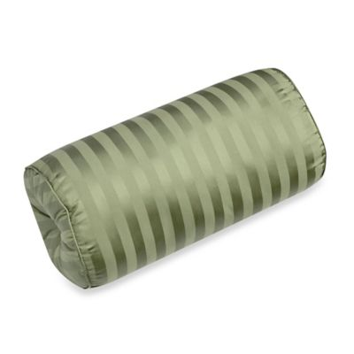500-Thread-Count Damask Stripe Bolster Throw Pillow in Sage