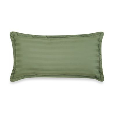 500-Thread-Count Damask Stripe Oblong Throw Pillow in Sage