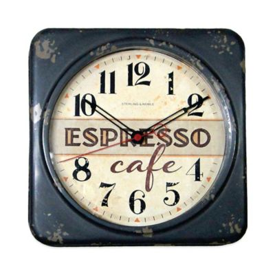 "Antique ""Espresso Café"" Wall Clock"