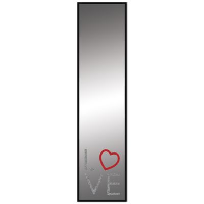"12-Inch x 48-Inch Over-the-Door ""Love"" Mirror in Black"