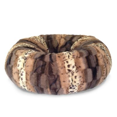 Faux Fur Donut Napper Bed for Pets in Multicolor