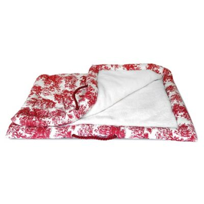 Toile Sherpa-Lined Pet Mat in Red