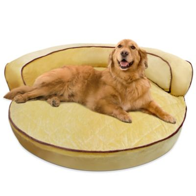Orthopedic Soft Micro Velvet Round Bolster Bed in Tan