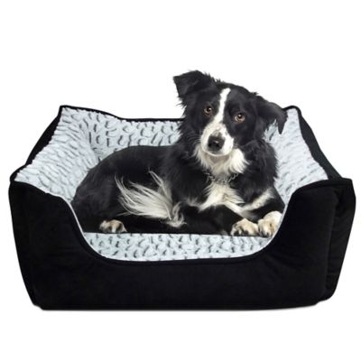 Memory Foam Rectangle Cuddler Pet Bed in Black / Jaguar