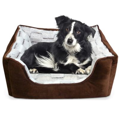 Memory Foam Rectangle Cuddler Bed in Bark and Gray