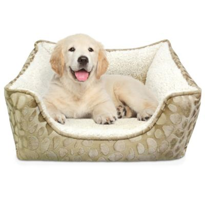 Memory Foam Rectangle Dog Bed in Bamboo Spots