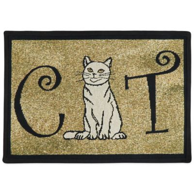 PB Paws by Park B.Smith Cat Person 19-Inch x 13-Inch Pet Mat in Black