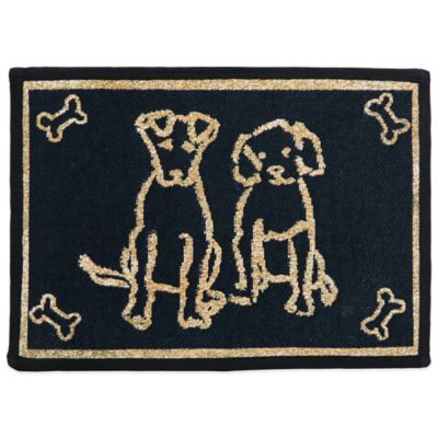 PB Paws by Park B.Smith Dog Friends 27-Inch x 19-Inch Pet Mat in Black/Sand