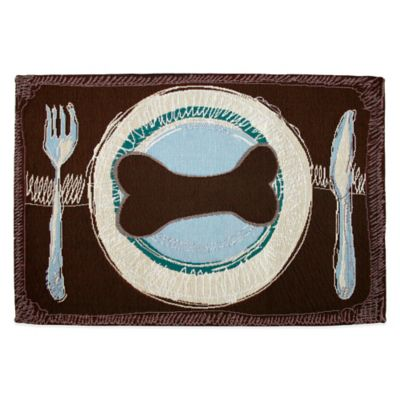 Park B. Smith Dog's Dinner Tapestry Pet Mat in Woodland / Seaspray
