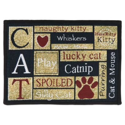 PB Paws by Park B.Smith I Love Cats 27-Inch x 19-Inch Pet Mat in Sand / Cinnabar