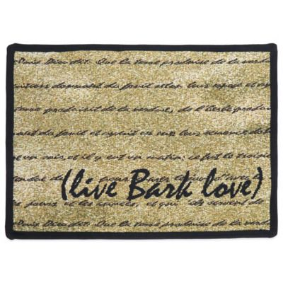 P.B. Paws by Park B. Smith Live Bark Love 27-Inch x 19-Inch Tapestry Pet Mat in Gold